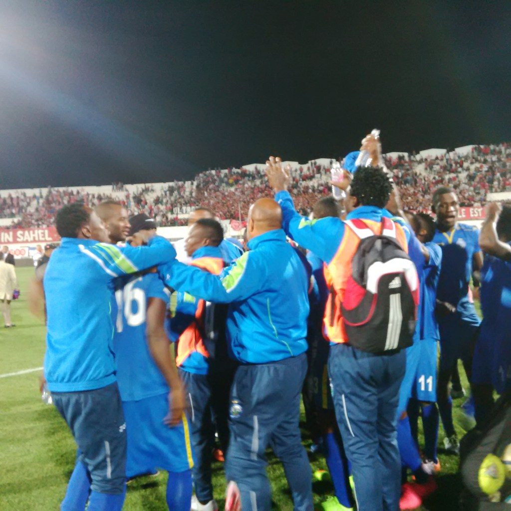 Enyimba players celebrate their penalty victory over Étoile Sportive du Sahel
