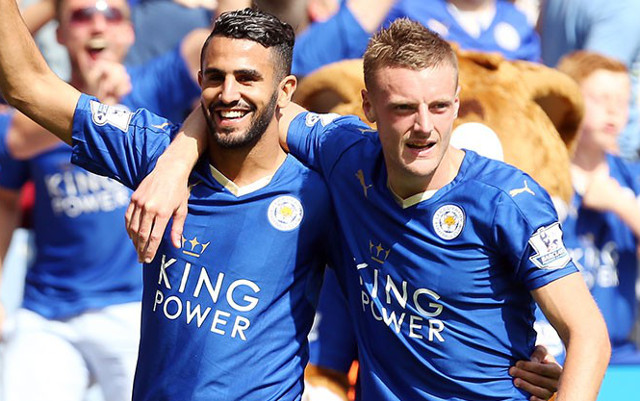 Riyad Mahrez and Jamie Vardy (Photo credit Caughtoffside)
