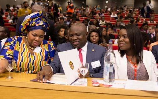 pm news nigeria Lagos State Governor, Mr. Akinwunmi Ambode (middle); FDr. Vanessa Iwowo (left) Eki Izevbigie(right)