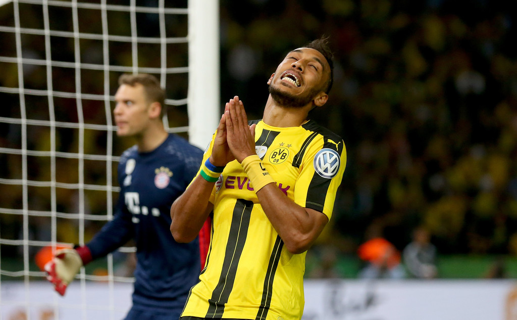 Pierre-Emerick Aubameyang of Dortmund reacts during the DFB Cup Final 2016 between Bayern Muenchen and Borussia Dortmund at Olympiastadion on May 21, 2016 in Berlin, Germany.