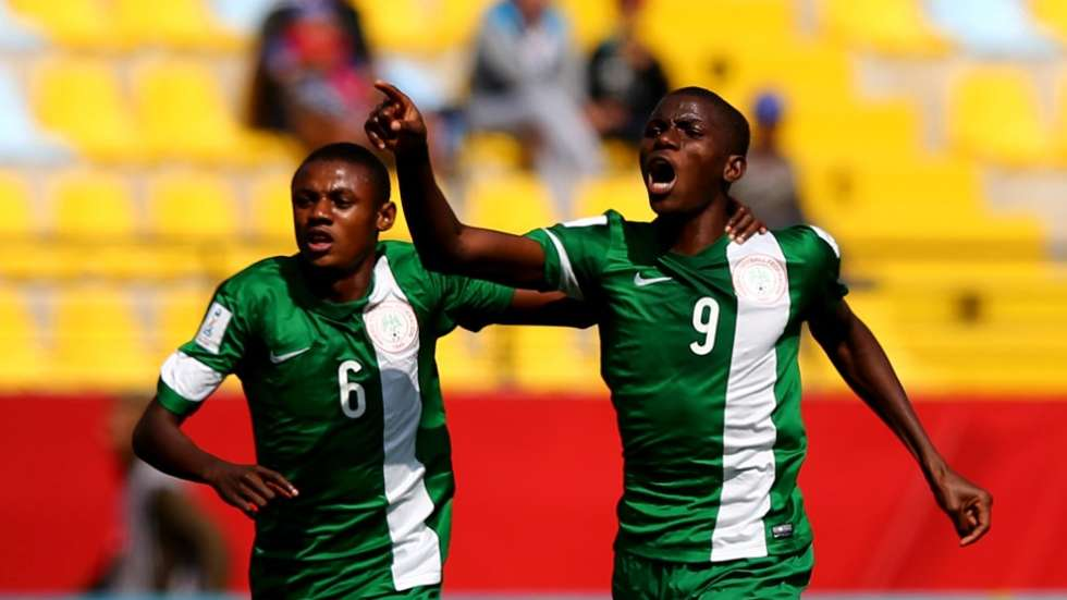 Victor Osimhen and Samuel Chukwueze celebrates after scoring for Golden Eaglets