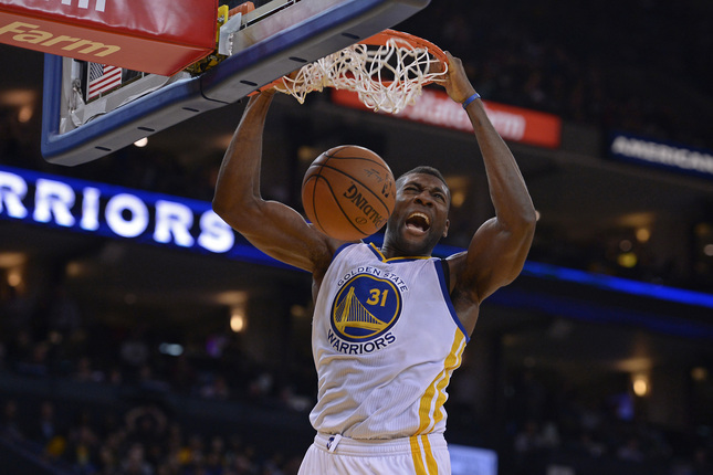 Golden State Warriors' Festus Ezeli (31) dunks the ball against the Denver Nuggets in the second quarter of their game at Oracle Arena in Oakland, Calif., on Friday, Nov. 6, 2015. (Jose Carlos Fajardo/Bay Area News Group)
