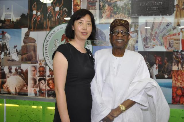 Minister  Lai Mohammed andVice-President of  StartTimes Group of China, Ms. Zhao Yueqin whenthe management of StarTimes paid a courtesy call on the Minister inAbuja