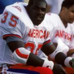 HONOLULU, HI - FEBRUARY 4:  Kansas City Chiefs running back Christian Okoye #35 of the AFC squad looks on from the bench during the 1990 NFL Pro Bowl at Aloha Stadium on February 4, 1990 in Honolulu, Hawaii.  The NFC won 27-21.  (Photo by George Rose/Getty Images)