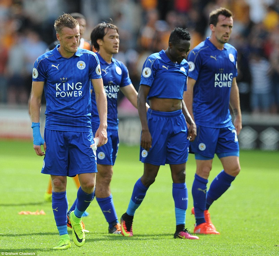 (From left) Vardy, Shinji Okazaki, Musa and Christian Fuchs look dejected after the final whistle