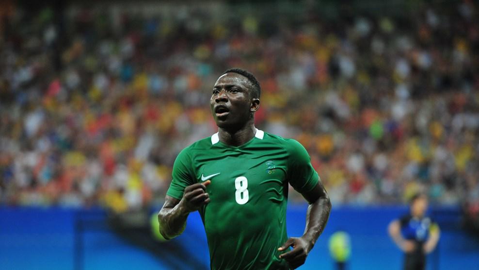 Nigeria's Etebo celebrates scoring a hattrick against Japan photo credit FIFA.com