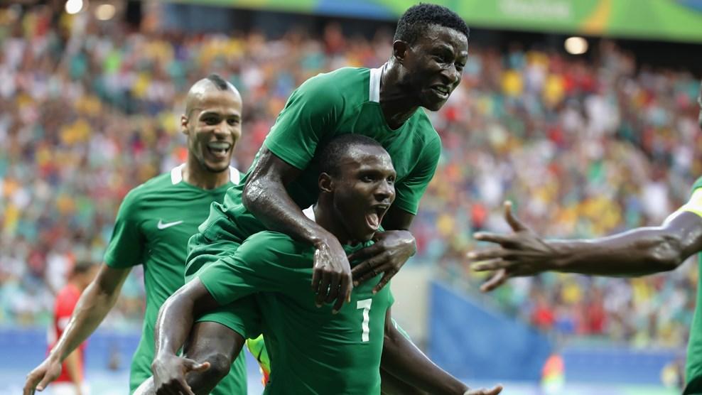 Nigeria's U-23 team celebrates Aminu Umar's second goal against Denmark