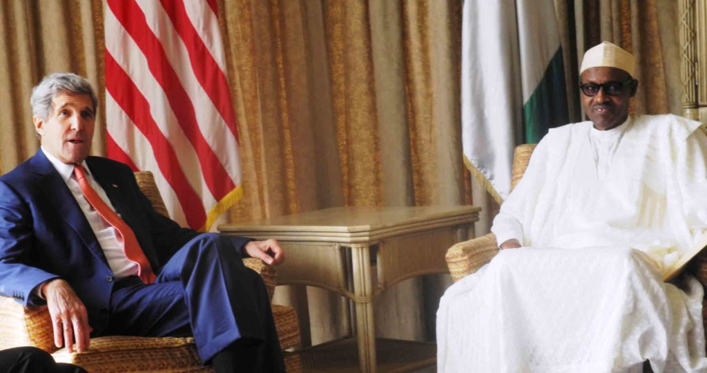 PIC.11. APC PRESIDENTIAL CANDIDATE, RETIRED GEN. MUHAMMADU BUHARI (R), WITH THE U.S SECRETARY OF STATE, JOHN KERRY, DURING A MEETING IN LAGOS ON SUNDAY (25/1/15). 488/25/1/2015/WAS/JAU/NAN