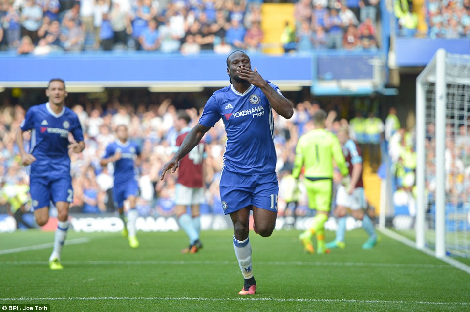 Victor Moses added Chelsea's third goal after coming on as a substitute against Burnley photo credit AFP