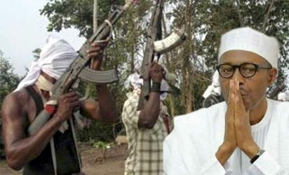 Nigerian President Muhammadu Buhari and militants...photo Vanguard.ng