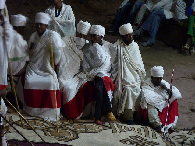 Priests in Lalibela, Ethiopia. Photo/Mike Cotterill