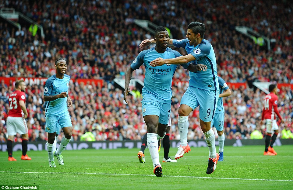 Nolito (right) races to celebrate with Kelechi Ineanacho (centre) after the City youngster netted the eventual winner photo credit dailymail.co.uk