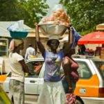Street Hawkers along the road side in Lagos